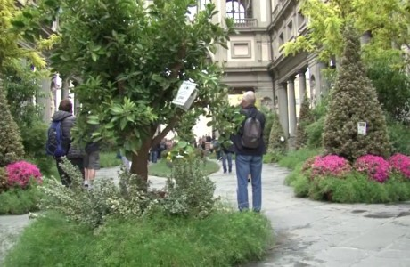 A garden in the Piazzale degli Uffizi