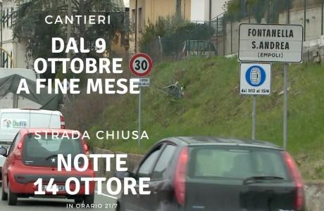 Prevista la chiusura della strada dalle 21 di sabato 14 alle 7 di domenica 15 ottobre, tra le frazioni di Fontanella e Sant'Andrea