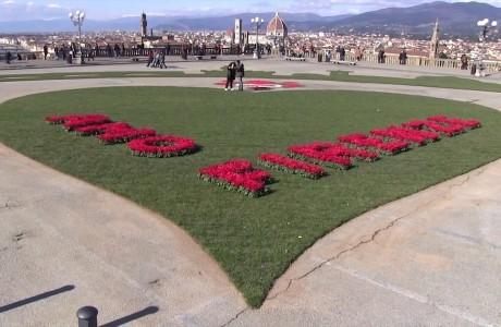 Il cuore di San Valentino al Piazzale Michelangelo