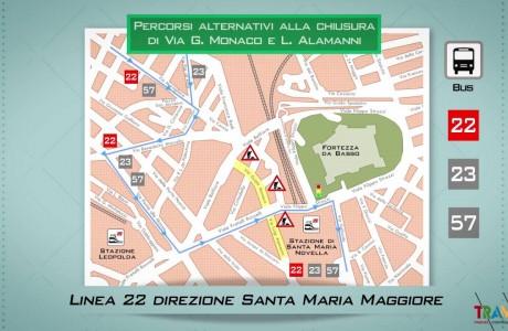Tramvia Firenze – Dal 4 luglio chiude via Guido Monaco