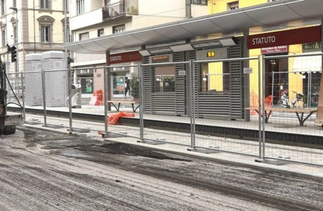 Tramvia Firenze, lavori di asfaltatura in via dello Statuto