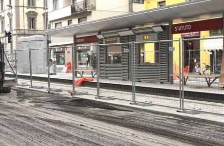 Tramvia Firenze, lavori di asfaltatura in via dello Statuto