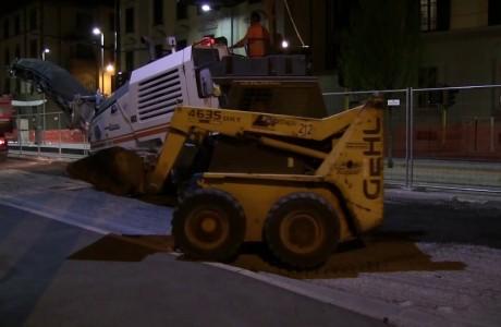 Tramvia Firenze, lavori di asfaltatura diurni e notturni