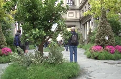 Un giardino nel piazzale degli Uffizi